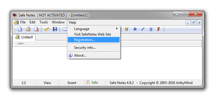 Open the registration dialog